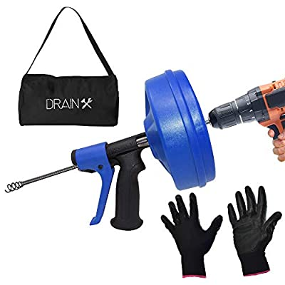 DrainX SPINFEED 35 Foot Snake Drum Auger   Drill Power or Manual Use - Auto Extend and Retract Snake   Work Gloves and Storage Bag Included