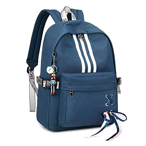 Silver Tulip Backpack College School Girls Backpack(Blue Medium with USB Port)