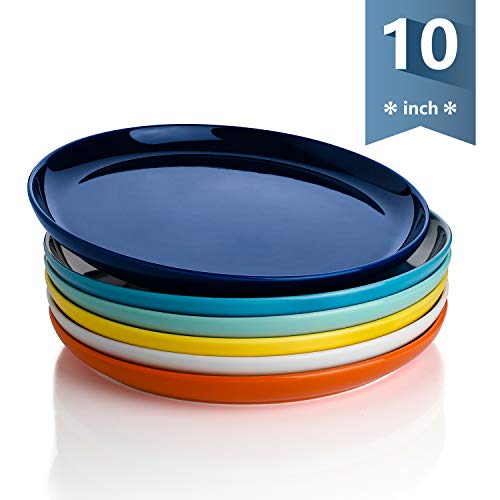Sweese 154.002 Porcelain Round Dinner Plates - 10 Inch - Set of 6, Hot Assorted Colors