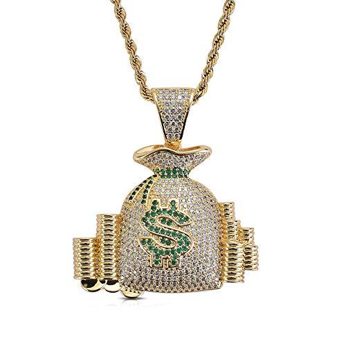 ZSTY Colgante Hip Hop, Hip Hop Dollar $ Símbolo Monedero Colgante Micro con Incrustaciones de circón Hip Hop Collar Hipster Joyería, Longitud de Cadena 60 cm,Gold