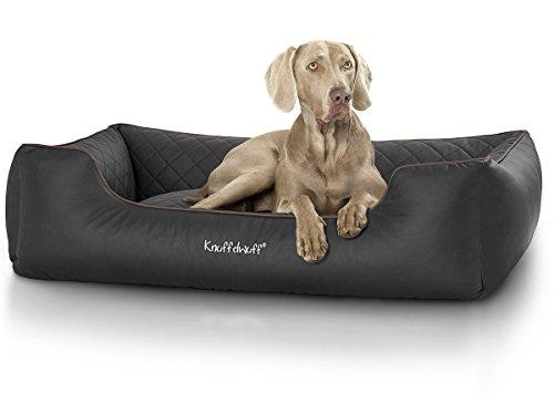 Knuffelwuff Hundebett XXL Kunstleder Hundekorb Hundesofa Hundekissen Hundekörbchen waschbar Milan, 120 x 85cm, schwarz
