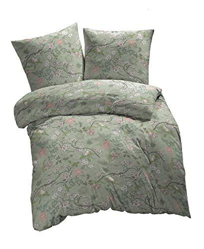 etérea Baumwolle Bettwäsche - Japanische Kirschblüten - botanischer Garten Muster - superweich und angenehm auf der Haut, 3 teilig Bettbezug 200x220 cm mit Zwei Kissenbezüge 80x80 cm, Grün