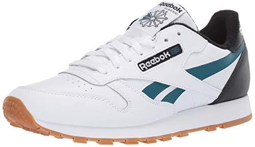 Reebok Herren Classic Leather Turnschuh, Weiß/Schwarz/Blaugrün, 45 EU