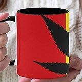 Taza de café de 11 oz, icono de hoja de cannabis verde fresco, taza divertida, taza de café personalizada, utilizada para...