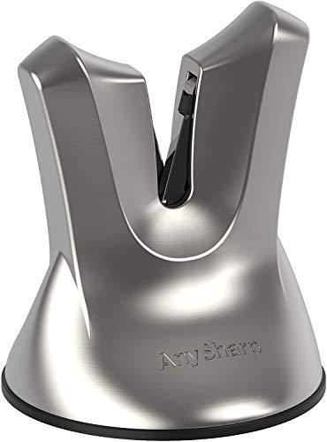 AnySharp XBlade Affilacoltelli Professionale con Ventosa, Grigio (Metallo Spazzolato)