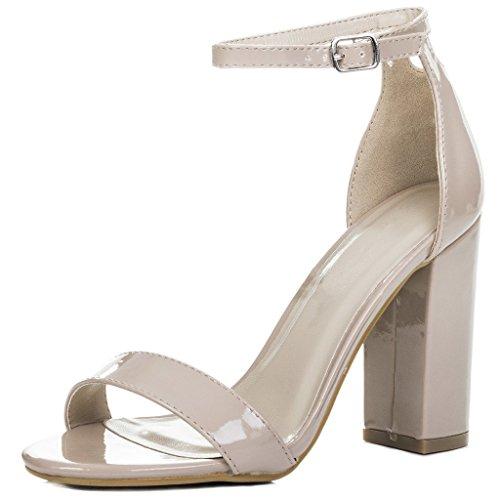 Peep-Toe Blockabsatz Sandalen Schuhe Pumps Synthetik Lack Gr 39