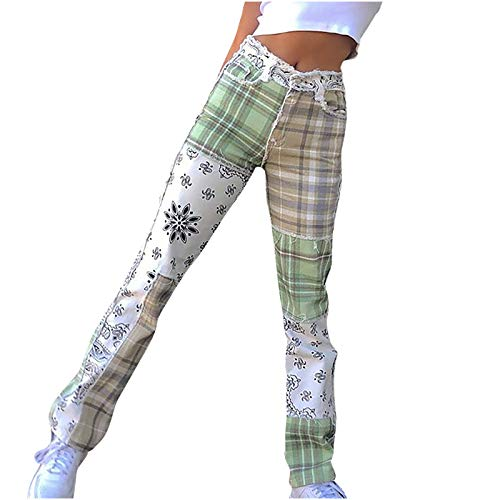 Pantalon Jeans Femme Taille Haute Vintage Ample Chino Longue Large Elastic Fille Pantalon
