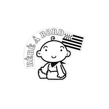 Pegatina autoadhesiva para bebé a bordo Bretaña Breizh Breton Logo 1 12 cm