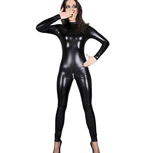 Frauen Sexy Schwarz Lackleder Overall Bondage Zentai Catsuit Wetlook PVC Latex Trikot Crotchless Body Erotische Clubwear,L