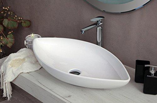 Yellowshop - Lavabo Da Appoggio Cm 71 x 36 Bacinella Lavandino Lavello In Ceramica Bianco Sanitari Bagno Design Moderno Modello Gothic