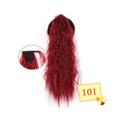 Long Corn Curly Synthetic Ponytail Wrap On Clip Hairpieces For Women Black Brown Hair Tail False Hair-101-20Inches