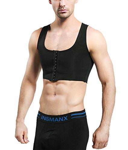 Jolie Hombres Escultor De Cuerpo Corsé Vest Hide Gynecomastia Moobs Adelgazamiento del Pecho Ropa Interior Respirable,Black,XXL