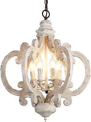 Distressed Antique White Wooden 6 Light Chandelier