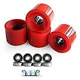 TYQY Ruote da Skateboard con Cuscinetti 70mm Longboard Wheels Cruiser Wheels 90A + ABEC9 Cuscinetto Ruote da Crociera in Acciaio (Set di 4),Rosso