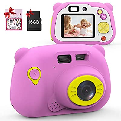 Mansso Kids Camera - 1080P HD Digital Camera for Kids with 2 Inch IPS Screen and 16GB SD Card,Mini Rechargeable and Shockproof Camera Creative DIY Camcorder for 3-12 Years Boys Girls Gift