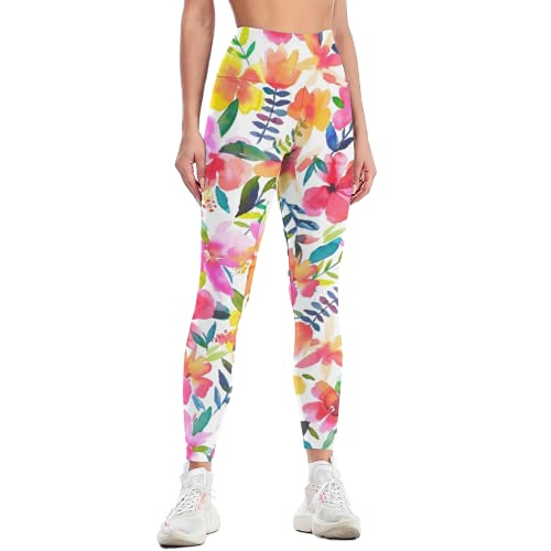 QTJY Pantalones de Yoga Florales para Mujer Pantalones de Yoga de Gimnasia Retro de Cintura Alta Pantalones de chándal de Entrenamiento de Celulitis Delgados elásticos C S