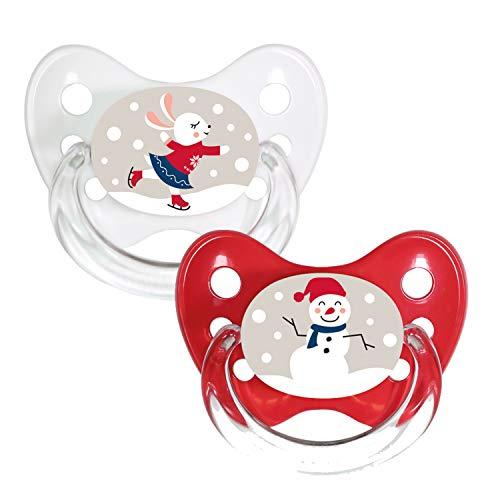 Dentistar® Silikon-Schnuller 2er Set mit Kappe - Größe 2, 6-14 Monate - Merry Christmas - zahnfreundlich und kiefergerecht - BPA frei - Hase + Schneemann