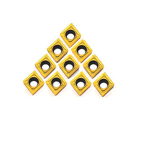 OSCARBIDE CCMT060204(CCMT21.51) Carbide Turning Inserts CCMT Insert Mutilayer Coated CNC Lathe Inserts for Lathe Turning Tool Holder Cut Off Tools, 10 Pieces
