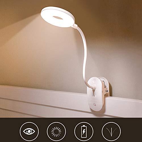 SHELLTB Lámpara LED con Clip Dimmable Eye-Care Recargable LED luz de Lectura para Cama de Escritorio cabecero de Ordenador,White