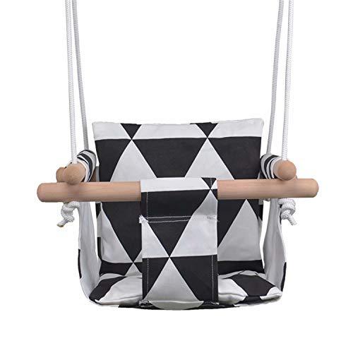 Sunrise-EU Baby linnen schommel kinderen hangstoel voor outdoor indoor camping reizen strand balkon tuin Eén maat zwart