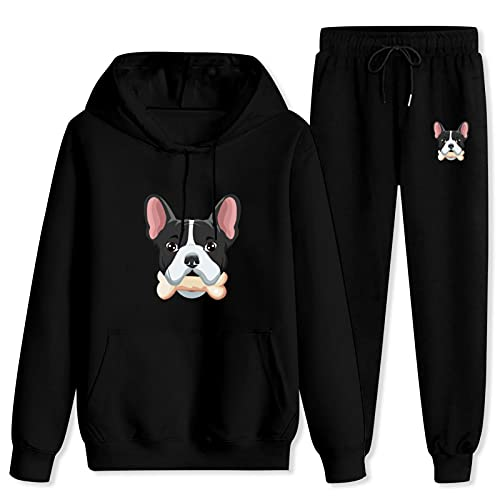 Jsmllia Men's Tracksuit French Bulldog Hoodie Sweatpants,3D Print Pullover Hoodie for Men with Pockets XX-Large Black