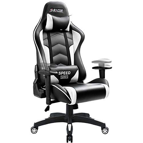 Homall Gaming Chair High Back Computer Chair Racing Style Office Chair Embossing Design Pu Leather Bucket Seat Desk Chair with Adjustable Armrest Ergonomic Headrest and Lumbar Support (White) chair gaming gray
