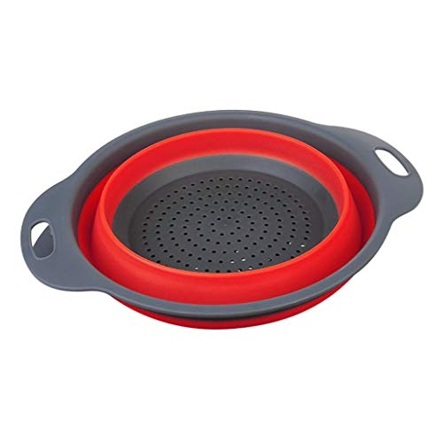 Fine Foldable Silicone Colander, Fruit Vegetable Washing Basket Strainer Collapsible Drainer for Kitchen Space Saving Storage Design Kitchen Strainer (Red, L)