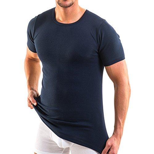 HERMKO 3840 Herren Business Shirt aus Baumwolle, Kurzarm Hemd, 1/2-Arm Unterhemd in vielen Farben, Farbe:Marine, Größe:D 7 = EU XL