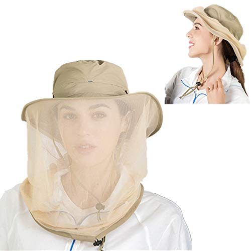 Geweo Mosquito Head Net Hat Bee Suit Beekeeper Mask Keeper Sun Hat Fishing Cap Safari for Men and Women Hats Wide Brim