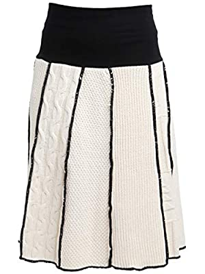 Green 3 Women's Recycled Cotton 4-Panel Skirt Sweater Knit, Made in USA