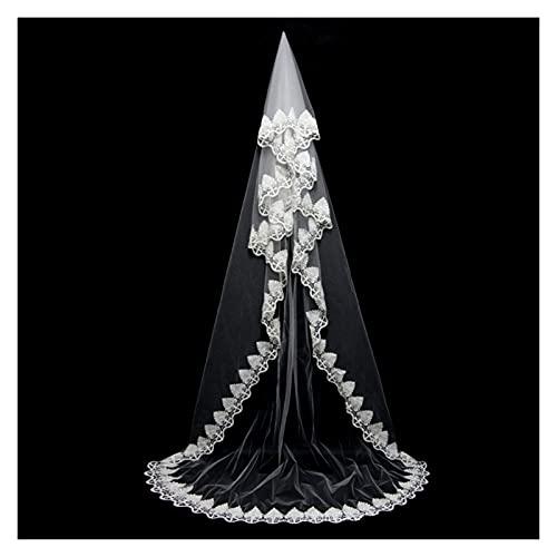 xinlianxin Velo de novia para mujer, 3 m, una capa, color blanco, marfil, sin peine, accesorios de boda (color blanco, longitud del artículo: 300 cm)