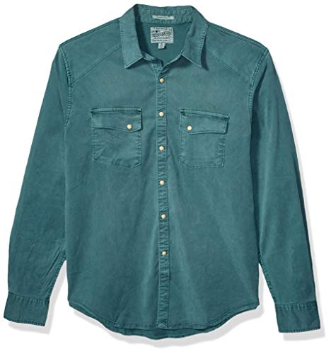 Lucky Brand Men's Tencel Martin Button Up Western Shirt, sea Pine, XXL