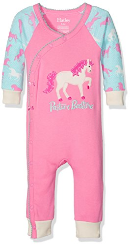 Hatley 100% Organic Cotton Baby Wrap Sleepsuit Pyjama, Rose (Ponies and Peonies 650), 3-6 Mois Bébé Fille