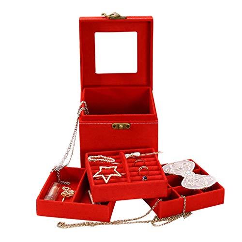 Joyero organizador para mujer, 3 capas, caja de almacenamiento de joyas, regalo con cerradura y espejo, estuche portátil de viaje para anillos, pulseras, pendientes, collares, pulseras (rojo)