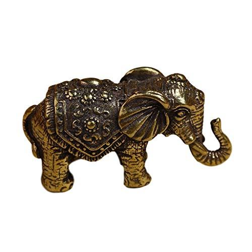 1pcs Mini Brass Wishful Elephant Statue, Vintage Copper Animal Elephant Sculpture Tea Set Tea Pet Ornaments, Miniatures Figurines Feng Shui Decor