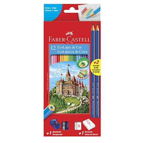 Kit Escolar Lápis de Cor Sextavado + 2 Lápis Max + Apontador + Borracha, Faber-Castell, 12 Cores