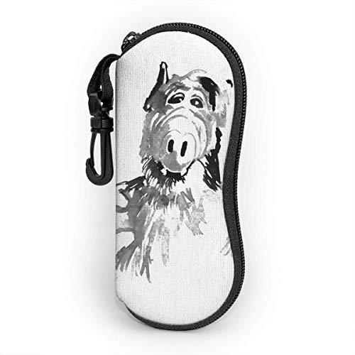 Brillenetui mit Karabinerhaken, Alf Thumb Up Ultraleichtes tragbares Neopren-Reißverschluss-Sonnenbrillen-Softetui
