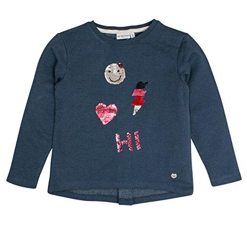 SALT AND PEPPER Salt & Pepper Mädchen Sweat Wild Heart Uni Falte Sweatshirt, Blau (Night Blue Melange 471), 128