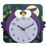 Q&B Grafiche Orologio da Parete per Bambini - Orologio da Muro 3D Gufo (CLOCK04)