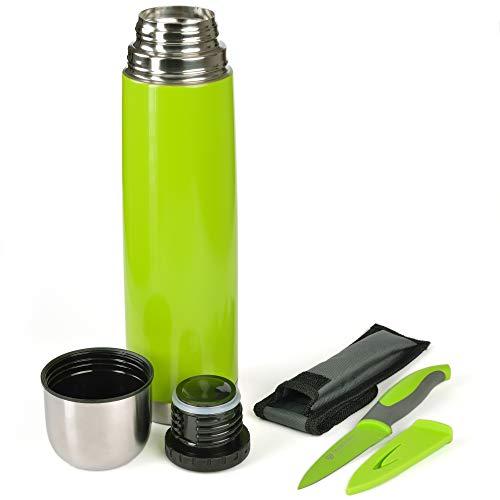 GRÄWE Thermoflasche mit Allzweckmesser, Outdoor, Set, 1L Vakuum-Isolierte Isolierflasche mit Drehverschluss inkl. farblich passendem Messer - Grün