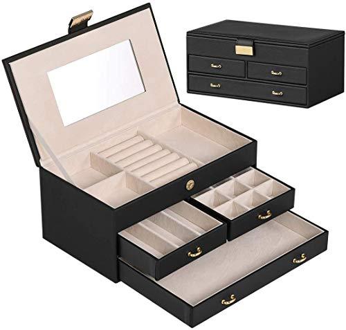 MAIZHAN Schmuckkästchen für Frauen Leder-Schmuck-Organisator-Box mit 3 Schubladen langlebige Schmuck-Aufbewahrung mit weichen gefüttert für Ringe Halsketten Armbänder