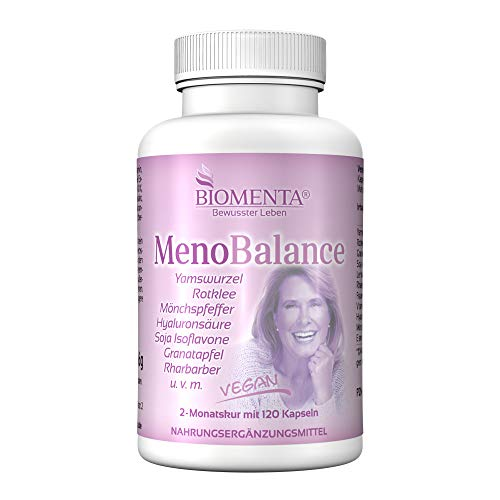 BIOMENTA Meno Balance - Yamswurzel, Rotklee, Frauenmantel, Mönchspfeffer, Hyaluronsäure, Rhabarber, Granatapfel uvm - 120 Kapseln rein pflanzlich und hochdosiert
