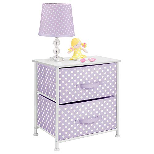 mDesign Chest of Drawers – 2-Drawer Storage System Made of Metal, Fabric and MDF Wood – Bedside Table with Polka Dot Pattern for Bedroom, Nursery or Living Room – Purple/White