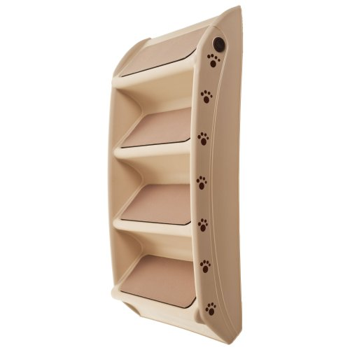 Folding Plastic Pet Stairs Durable Indoor or Outdoor 4 Step Design With Built-in Safety Features For Dogs Cats Home Travel by PETMAKER – TAN