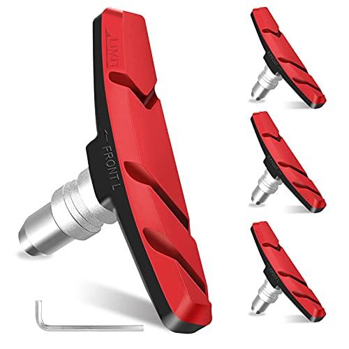 N\C V Brake Bremsbeläge - Bremsbeläge Fahrrad 70mm, High Brake Performance Vbreak Bremsschuhe, 2 Paar Leise Bremsklötze für Alle Felgenbremsen Geeignet (V Bremse) Mit Gewinde und Befestigungsteilen