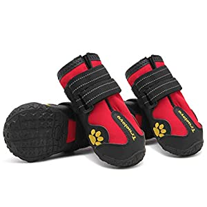 MOKCCI Truelove Dog Boots Waterproof Dog Shoes with Best Reflective Straps for Small Medium Large