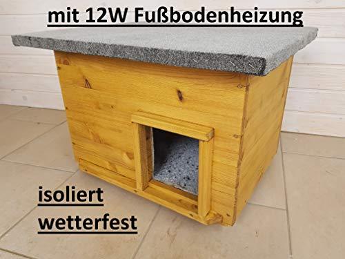 Lösche Holzbau Katzenhaus mit Heizung, Lasur Eiche hell, wetterfest isoliert, Katzenhütte Wurfkiste Hundehütte