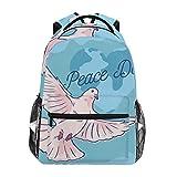 Lorona - Mochila para el día de la Paz con diseño de Paloma Blanca, Informal, para la Escuela, para Viajes, Senderismo, Camping, para niñas, niños, Hombres y Mujeres