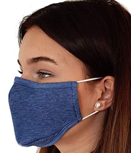 Top Lamination Laminiertechnik Mund-Nasen-Behelfsmaske Mittelblau meliert, mit Nasenbügel Gummizug verstellbar, waschbar, 100%Baumwolle