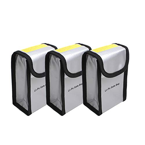 O'woda Battery Bag Fireproof Explosion-Proof Lipo Battery Safe Sleeve Battery Guard Pouch Sack Charge Protection for DJI Phantom 3/4 / Inspire (Pack of 3)